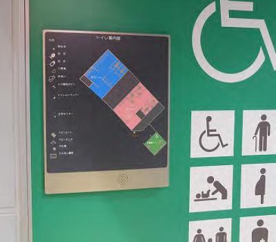 トイレ前のトイレ内構内図(点字付)